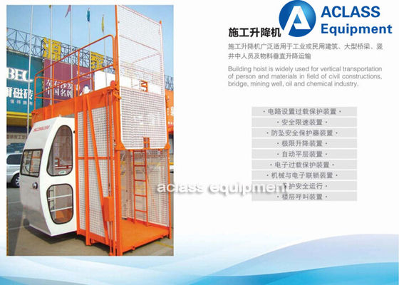 China Man Construction Material Hoist Residential Elevator One Cage 2000 Kg For Projects supplier