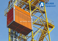 China 1 ton Single Cage Construction Hoist Elevator with 3 Phase Motor for Building / Tower factory