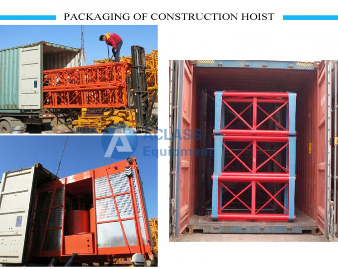 Custom Construction Building Hoist Elevator With 2*1000kg Loading Capacity
