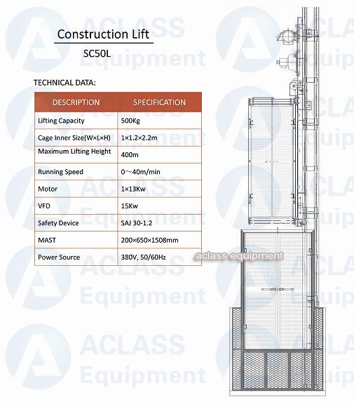 500 Kg Small Construction Hoist Elevator With Inverter Control